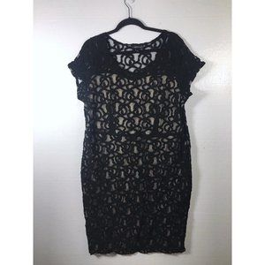 Lane Bryant Size 20 Black Nude Lace Sheath Dress
